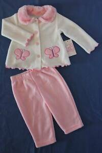 Baby Girls 2 pc Outfit 3 - 6 Mo Pink White Top Jacket Pants Set Soft Butterfly