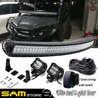 "For Honda Pioneer 1000 Upper Roof Windshield 54"" Curved Led Light Bar Combo Kit"