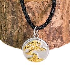 Silber & Gold Edelstahl Baum des Lebens Bonsai Anhänger auf Schwarze Schnur