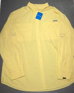 Columbia PFG Tamiami II Omni-Shade Long Sleeve Fishing Shirt Yellow Big 4XLT ?