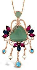 Le Vian® Pendant- Aquaprase, Blue Topaz, Rhodolite, Pearl - 14K Strawberry Gold®