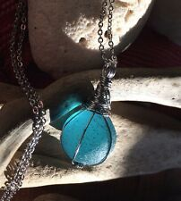 """Marble Aqua Blue Sea Glass Necklace Glow 20"""" Stainless Chain HandMade Frosted"""