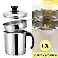 1,3L Öltopf Küche Deckelfilter Behälter Edelstahl Flasche Kochen Fett Ölkanne