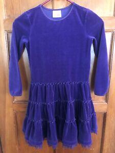 Hanna Andersson Long Sleeve Velour Twirl Dress Purple Size 130 7-8  Barely Worn
