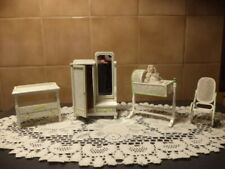 Vintage Bespaq Dollhouse Miniature Furniture 1:12 NURSERY SET 4 Pc. + BABY.