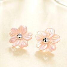 18k white gold plated pink shell flower earrings ear jacket stud 925 silver pin