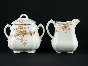 Henry Alcock Creamer & Covered Sugar Set, Antique England Pink Yellow Floral