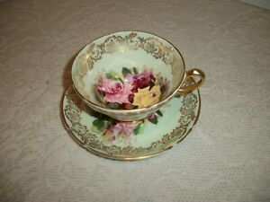 Stanley Bone China Cup and Saucer England Cabbage Roses