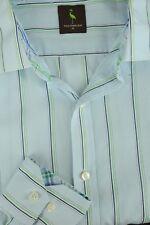 Tailorbyrd Hombre Azul Blanco y Verde Algodón de Rayas Camisa Informal XL XL