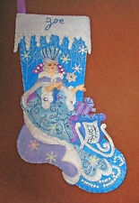 "Finshed felt stocking ""Snow Queen"" Frozen blue purple white PERSONALIZED"