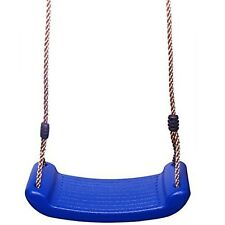 Rexco Childrens Kids Blue Plastic Rope Swing Seat Hanging Outdoor Garden Moun...