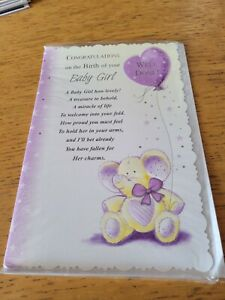 New baby girl greeting card NEW - elephant