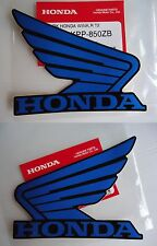 Honda Fuel Tank Wing Decal Wings Sticker x 2 BLUE / BLACK ***GENUINE HONDA***
