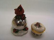 Pair of Christmas Decorations Cardnial Bird Gazing Ball & China Trinket Box
