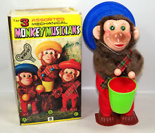 Vintage Wind Up Toy Monkey Drummer w/ Original Box -  K M Toys Hong Kong