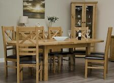 Grandeur solid oak furniture oval extending dining table and six chairs set