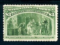 USAstamps Unused FVF US 1893 $3 Columbian Expo Third Voyage Sctt 243 OG MNH