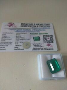 Esmeralda natural 8,95 cts con certificado GIE
