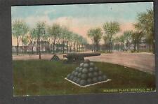 1914 military post card Soldiers Place cannonball cannon Buffalo NY -Saranac MI