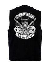 Shut Up And Ride Design Mens Denim Vest W Concealed Carry Gun Pockets