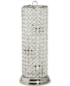 """Godinger Glam Crystal Glass & Nickel Hurricane Tealight Holder 13.5"""""""