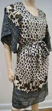 BOSS HUGO BOSS Cream & Brown Geometric Pattern Flare Sleeve Belted Dress UK6