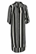 Womens Ladies Stripe Collared Turnup Button Sleeve Hi Low Curved Hem Shirt Dress One Size Black White - Clubwear Club Clubbing Fashion
