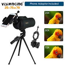 25-75X70 Zoom Spotting Scope Telescope W/Cellphone Adaptor Birdwatching Camping