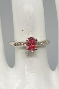 Antique 1950s .75ct VS VIVID Genuine PINK Diamond OVAL CUT Platinum Wedding Ring
