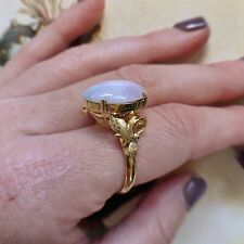 Vintage 14k Gold Lilac Lavender Jadeite Ring Size 8.5 Leaf Setting