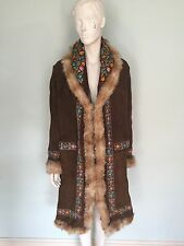 Beautiful 1970's Long Suede Embroidered Coat with fur trim, hippy boho festival