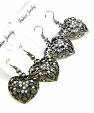 Rhinestone Drop/Dangle Heart Costume Earrings
