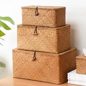Seagrass Woven Storage Box Handmade Straw Basket Organizer with Lid Square