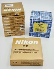 Lot of (9) Assorted Nikon 72mm Filters in Orig. Box w/ HN-13 Screw-In Lens Hood