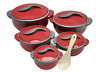 5pc Hot Pot Set Food Warmer Serving Round Insulated Casserole Pan Dish Round NEW