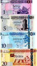 Libya 1,5,10 &20 Dinars Uncirculated 4 Notes 2013, 2015