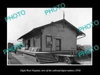 OLD LARGE HISTORIC PHOTO OF ELGIN WEST VIRGINIA, THE RAILROAD STATION c1930