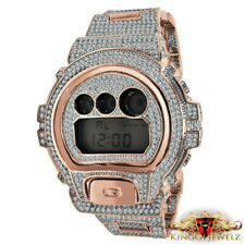 Rose Gold 2 Tone Finish Custom Authentic G Shock DW 6900 Simulated Diamond Watch