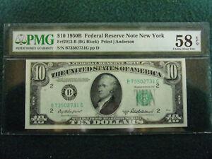 1950B 10$ PMG 58 Choice AU. FR#2012-B New York