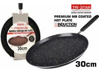 TRI-STAR PREMIUM MARBLE COATING HOT PLATE / TAWA WITH INDUCTION BASE 30 CM