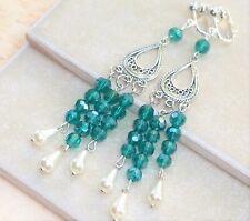 """CLIP ON Chandelier Earrings Green Crystal & Drop Pearls 4"""" Long"""