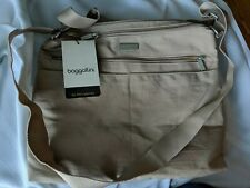 BAGGALLINI Special Edition New Design Large ZIPPER Bagg Crossbody Bag Beige NWT