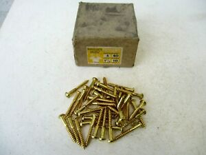 """Vintage New Old Stock in Brass Wood Screw 1-1/2"""", Qty 40 Hardware Carpentry"""