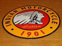 """VINTAGE INDIAN MOTORCYCLE DEALER 1901 11 3/4"""" PORCELAIN METAL GASOLINE OIL SIGN!"""
