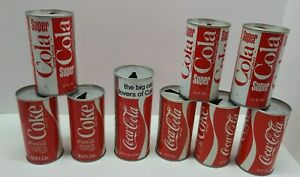 Vtg. Coca-Cola Can Lot of 9 10oz 16oz 12oz Super Cola Soda Cans