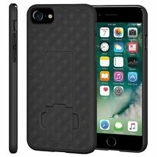 """AMZER Shell Snap On Hard Case Kickstand Rugged Cover For iPhone 7 4.7"""" - Black"""