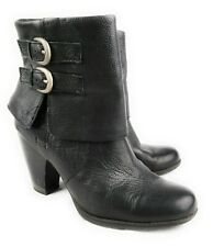 Born Black Leather Traipse Block Heel Ankle Boots Buckles Side Zip Women's 10
