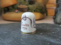 Caverswall Easter 1978 Fine Bone China Thimble-Floral & Swift With Ribbon Design
