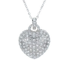 Cubic Zirconia Pave Heart Pendant Chain Necklace In Silver Tone