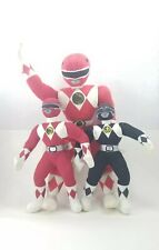 Vintage Set 3 Mighty Morphin Power Rangers Red Black Ranger Plush Toy Characters